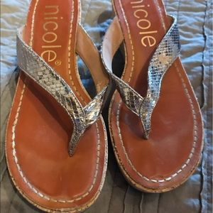 Nicole silver wedge sandals 8.5